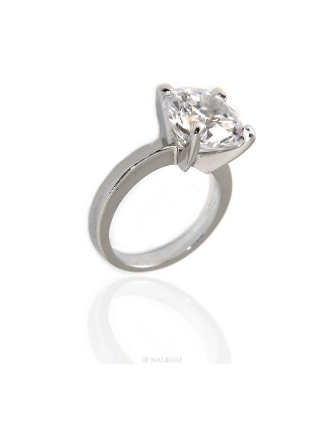 Argento 925 Rodiato : anello Solitario da donna con zircone taglio brillante da 12 mm (grande)