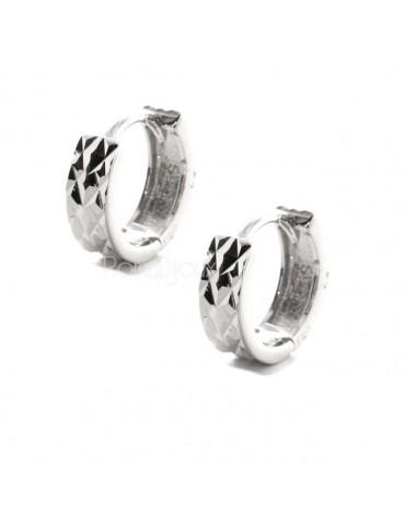 Argento 925 : orecchini massicci a scattino uomo e donna diamantati sfaccettati piccoli 13 mm (un paio)