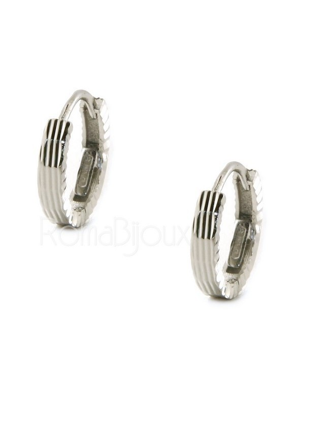 Silver 925: Men's and Women's Snapshot Earrings, geometric striped 12mm (1 pair)