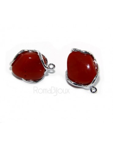 Earrings in 925 sterling silver gemstone uncalibrated natural coral red double use