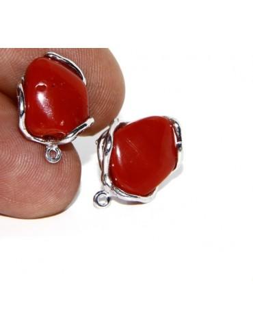 Orecchini in Argento 925 gemma non calibrata corallo naturale rosso doppio uso
