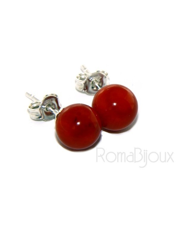 Earrings in 925 sterling silver pearl ball calibrated natural coral red 8mm