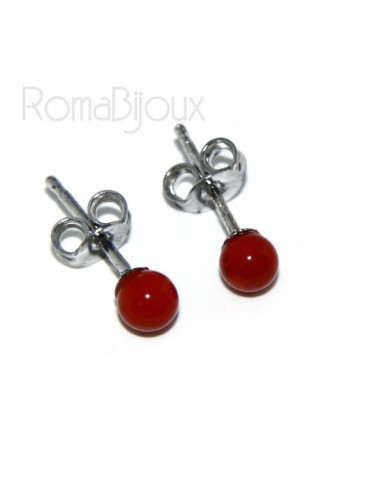 Earrings in 925 sterling silver pearl ball calibrated natural coral red 4mm
