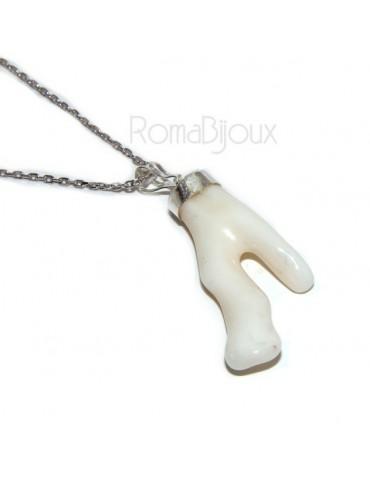 Ciondolo e collana donna linea Capri in argento 925 con corallo naturale bianco