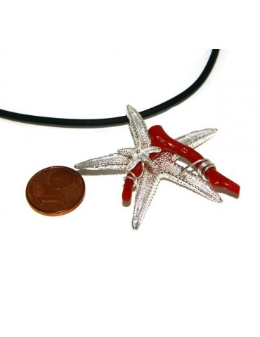 925 silver-plated Capri woman pendant with natural navy starfish and lace-up caucciu