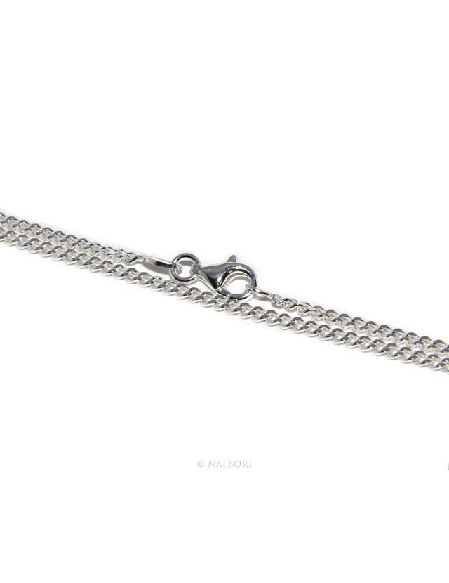ARGENTO 925 : Girocollo collana 50 o 60 cm uomo donna grumetta diamantata 2mm chiara sbiancata