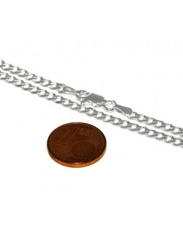 ARGENTO 925 : Girocollo collana o bracciale uomo donna grumetta diamantata 3mm chiara sbiancata