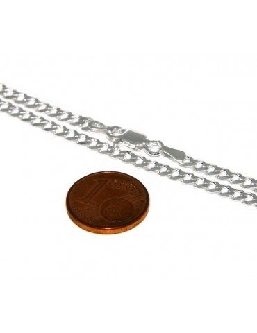 SILVER 925: Men's Necklace Necklace or Bracelet Women's Diamond Blush Diamond Dial 3mm Light Bleached