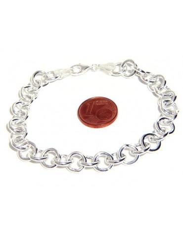 ARGENTO 925 : Girocollo collana o bracciale donna maglia tonda giotto chiara sbiancata