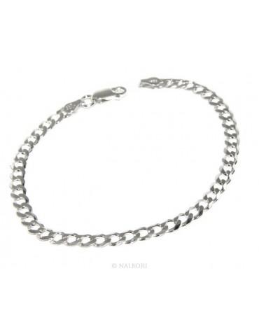 ARGENTO 925 : Girocollo collana o bracciale uomo donna grumetta diamantata 4mm chiara sbiancata