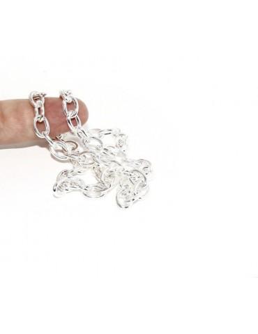 ARGENTO 925 : Girocollo collana o bracciale donna maglia ovale chiara sbiancata