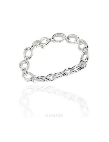 SILVER 925 light women's bracelet oval jumbo double 17 cm