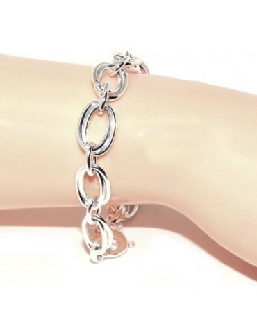 ARGENTO 925 chiaro bracciale donna maglia ovale doppia 17 cm