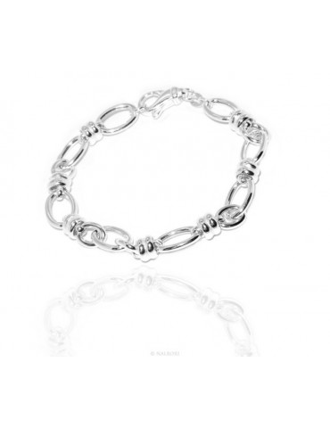 SILVER 925 Clear Oval Knit Woman Bracelet and Washers 17.50 cm
