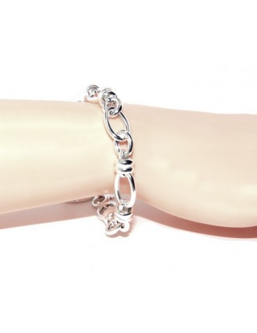 ARGENTO 925 chiaro bracciale donna maglia ovale e rondelle 17,50 cm