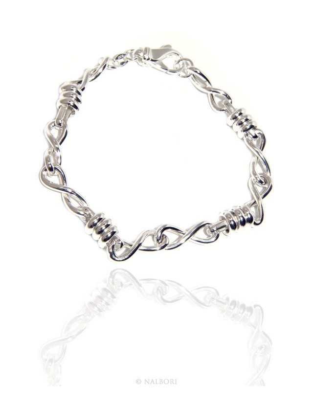 SILVER 925 clear bracelet woman infinite infinity and washers 17,50 cm