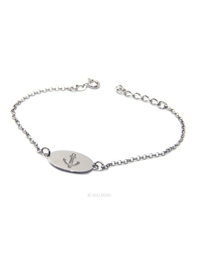 925 SILVER bracelet rolo 'man oval plaque woman anchor laser engraving cm from 16.00 to 19,00