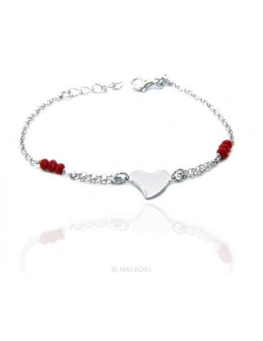 Bracciale donna ragazza uomo ragazzo Argento 925 lavorazione a rosario cristallo rosso con cuore centrale 15,50 - 18,00