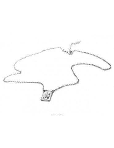Argento 925 : Collana girocollo uomo o donna con pendente madonna con bambino