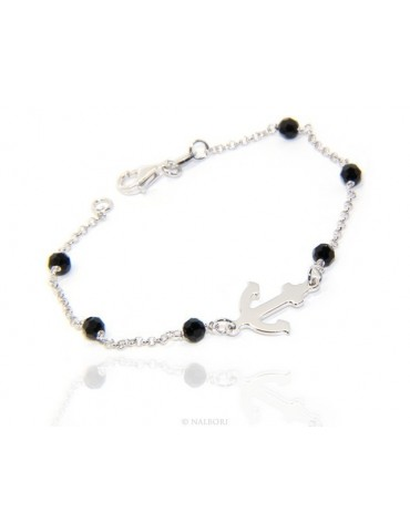 Men's bracelet boy boy Silver 925 black crystal rosary work with still central 17,50 cm