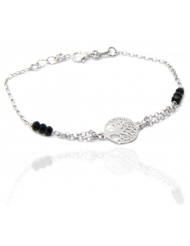 Man Woman Woman Bracelet Silver 925 Black Crystal Rosary Work with Tree of Central Life 15.50-18.50