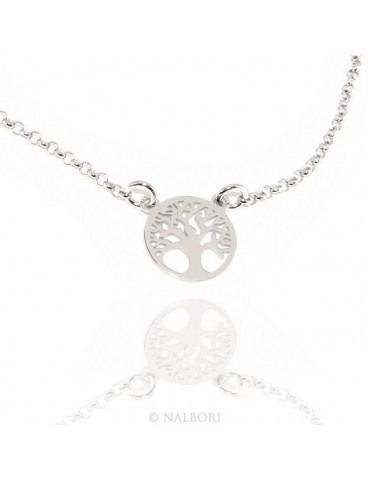 Argento 925 : Collana girocollo uomo o donna con pendente albero della vita