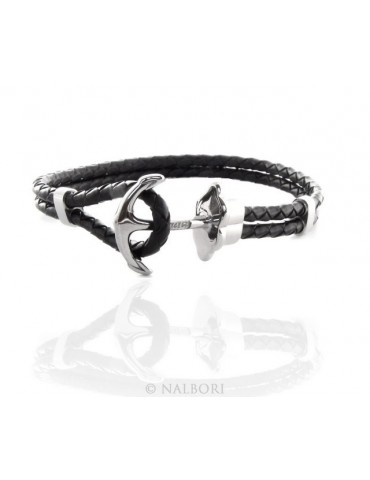 Steel bracelet anallergic faux-leather waistband and zirconia