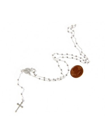 Man or Woman Rosary Necklace in 925 Sterling Silver Balls 2.5mm Miraculous Madonna Cross