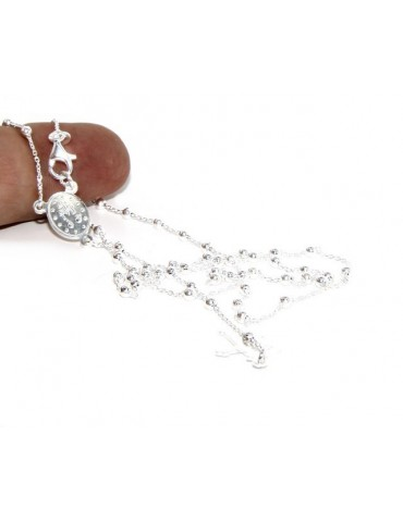 Collana rosario uomo o donna in Argento 925 palline 2,5 mm croce madonna miracolosa