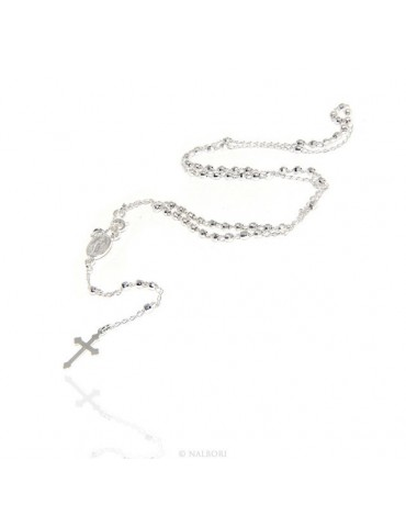 Man or Woman Rosary Necklace in 925 Sterling Silver Diamond Balls 3mm Cross Miraculous Madonna