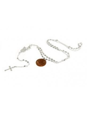 Collana rosario uomo o donna in Argento 925 palline diamantate 3mm croce madonna miracolosa