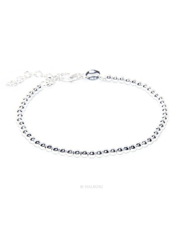 SILVER 925: Man's bracelet women balls 3 mm long 15.50 19.50 cm