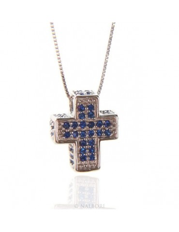 Silver 925: Necklace Collier man Venetian woman 45 cm and 3D cross with blue zircons pavé