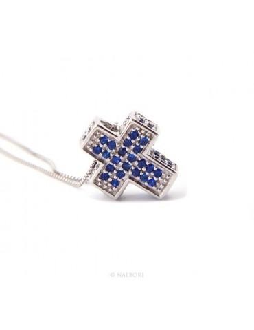 Silver 925: Necklace Collier man Venetian woman 45 cm and 3D cross with blue zircons pavé