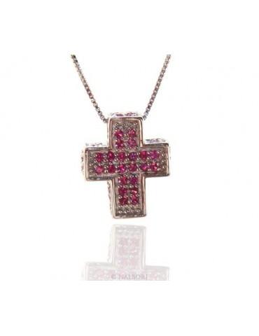 Argento 925 : Collana Collier uomo donna veneziana 45 cm e croce 3D a pavè di zirconi ROSSO rubino