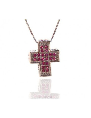 Silver 925: Venetian woman 45 cm Necklace and Crocodile Cross 3D Ruby RED Zircon