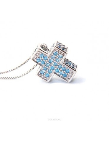 Silver 925: Venetian woman 45 cm Necklace and Crocodile Cross 3D Light blue acquamarine Zircon