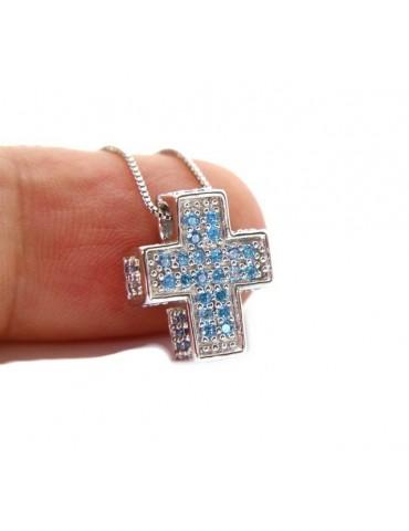 Argento 925 : Collana Collier uomo donna veneziana 45 cm e croce 3D a pavè di zirconi celeste acquamarine .