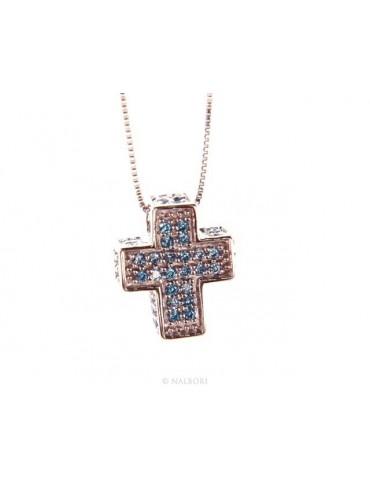 Silver 925: Venetian woman 45 cm Necklace and Crocodile Cross 3D Light blue acquamarine Zircon