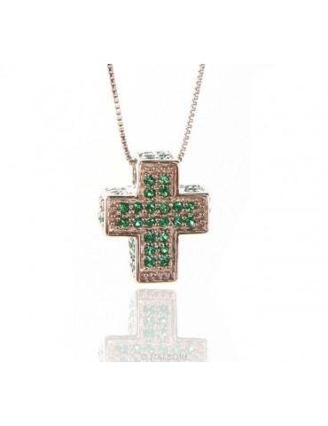 Argento 925 : Collana Collier uomo donna veneziana 45 cm e croce 3D a pavè di zirconi verde emerald