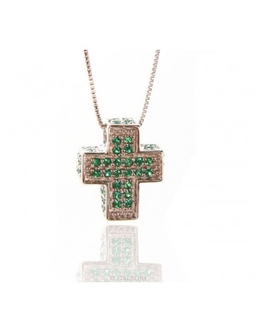 Silver 925: Venetian woman 45 cm Necklace and Crocodile Cross 3D Light green emerald zircon