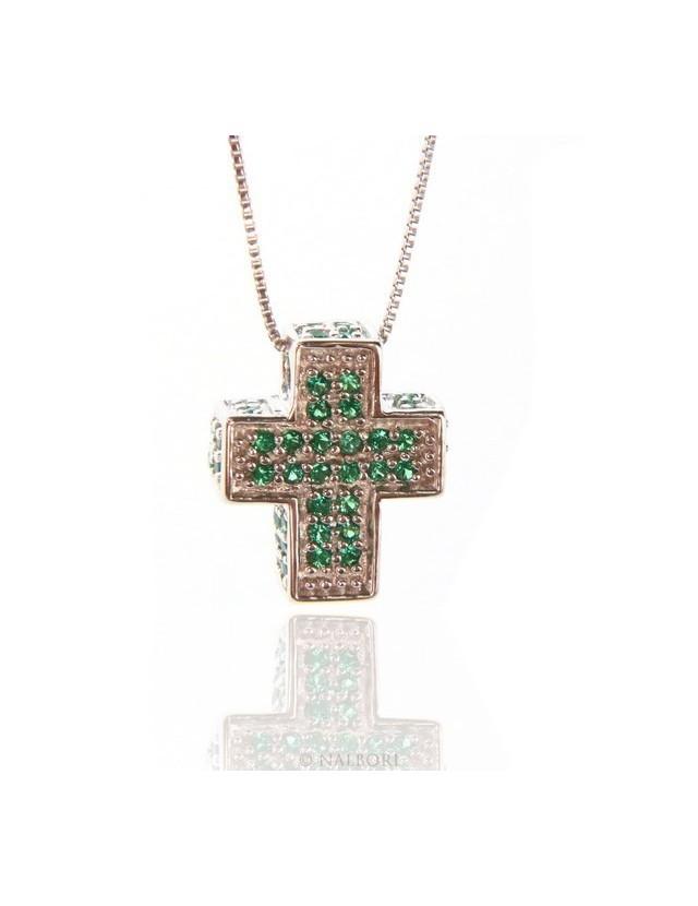 Silver 925: Venetian woman 45 cm Necklace and Crocodile Cross 3D Light green emerald zircon