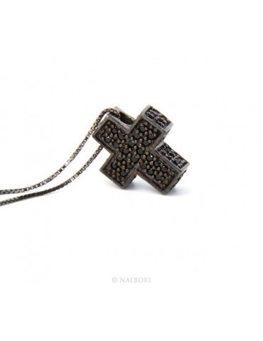 Silver 925: Venetian woman 45 cm Necklace and Crocodile Cross 3D ruthenium with black  zircon
