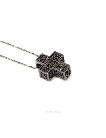 Silver 925: Venetian woman 45 cm Necklace and Crocodile Cross 3D ruthenium with black  zircon
