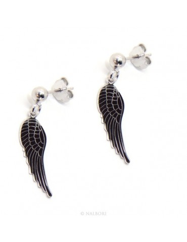 Silver 925: woman earrings with ball and pendant angel wings cut and laser engraved