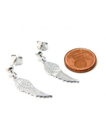 Argento 925 : orecchini donna con pallina e ciondolo ali di angelo tagliati e incisi al laser
