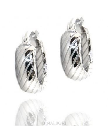 Argento 925 : orecchini donna uomo anelle cerchi 15mm scattino lavorati righe oblique