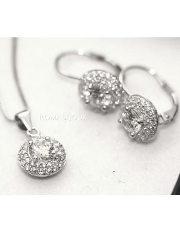 Parure argento 925 collana ciondolo orecchini donna big round pave' zirconi e punto luce bianco brillante