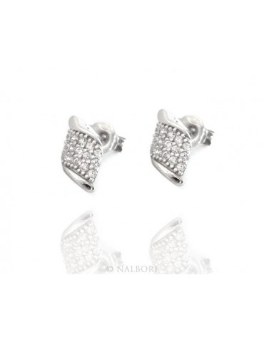 Silver 925: man / woman earrings light wings wings angel small white zircon