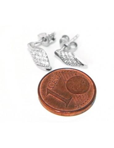 Argento 925 : orecchini uomo/donna punto luce ali ala angelo piccoli zircone bianco